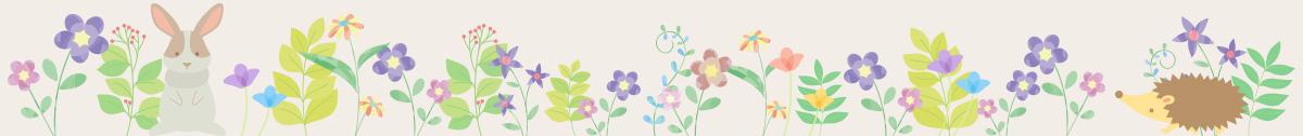 動物と花のイラスト